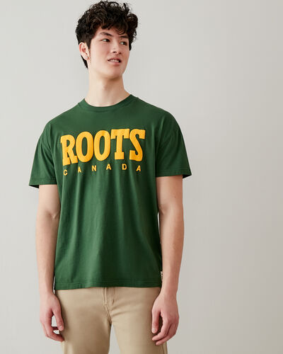Roots-Men Graphic T-shirts-Mens Retro Relaxed T-shirt-Camp Green-A