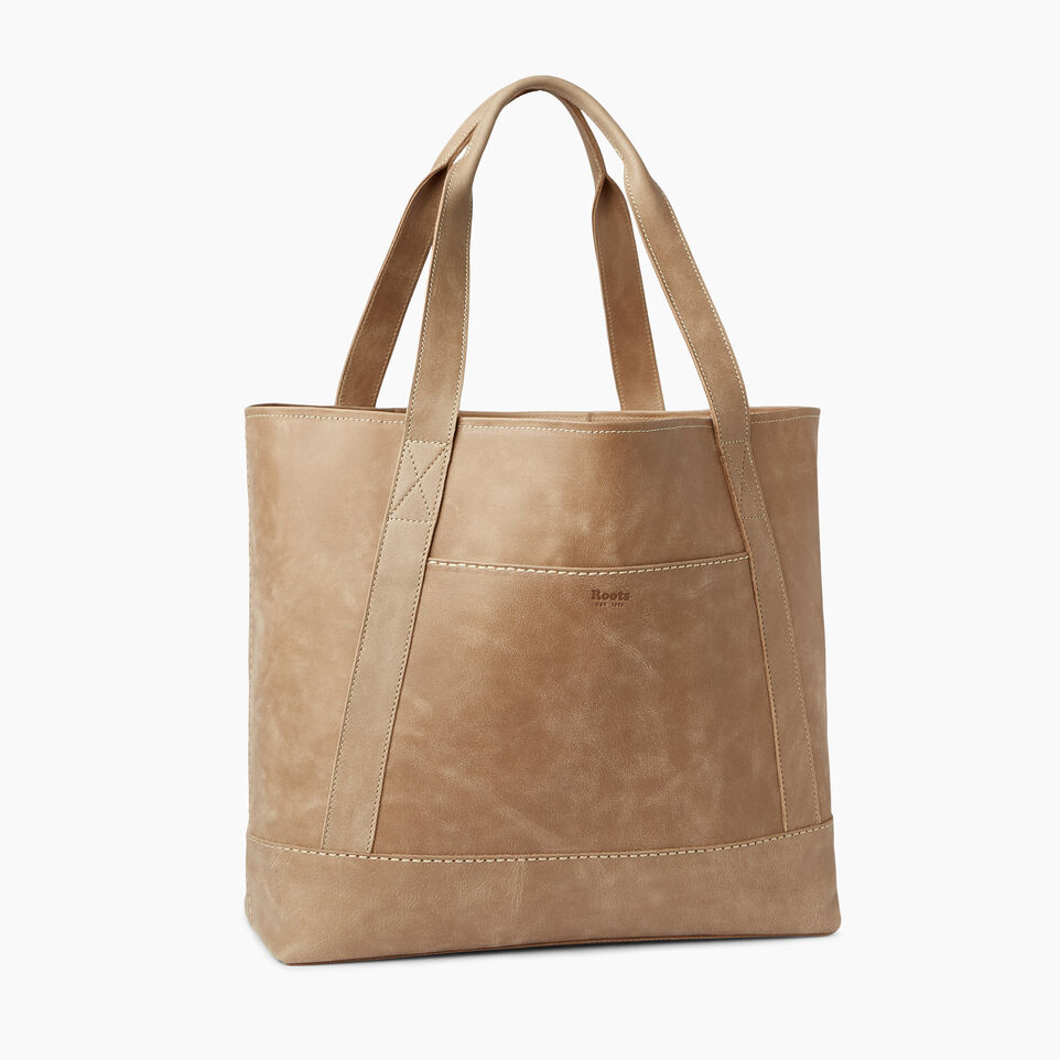 Roots-Leather  Handcrafted By Us Handbags-Muskoka Tote-Sand-A