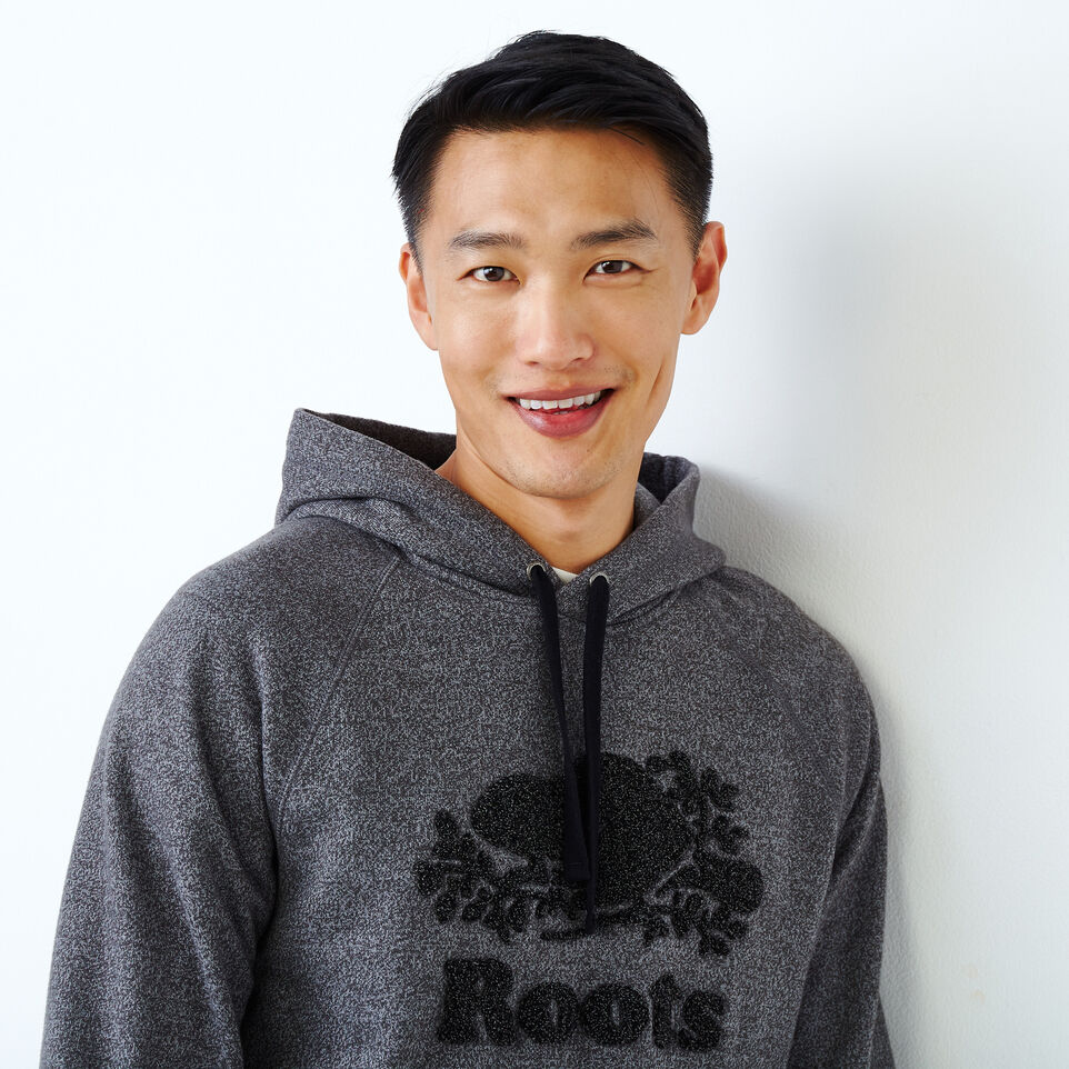 Roots-Men Our Favourite New Arrivals-Chenille Kanga Hoody-Charcoal Pepper-E