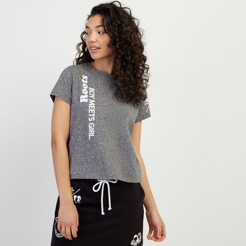 Roots-Women Clothing-Roots x Boy Meets Girl - Together Cropped T-shirt-Salt & Pepper-A