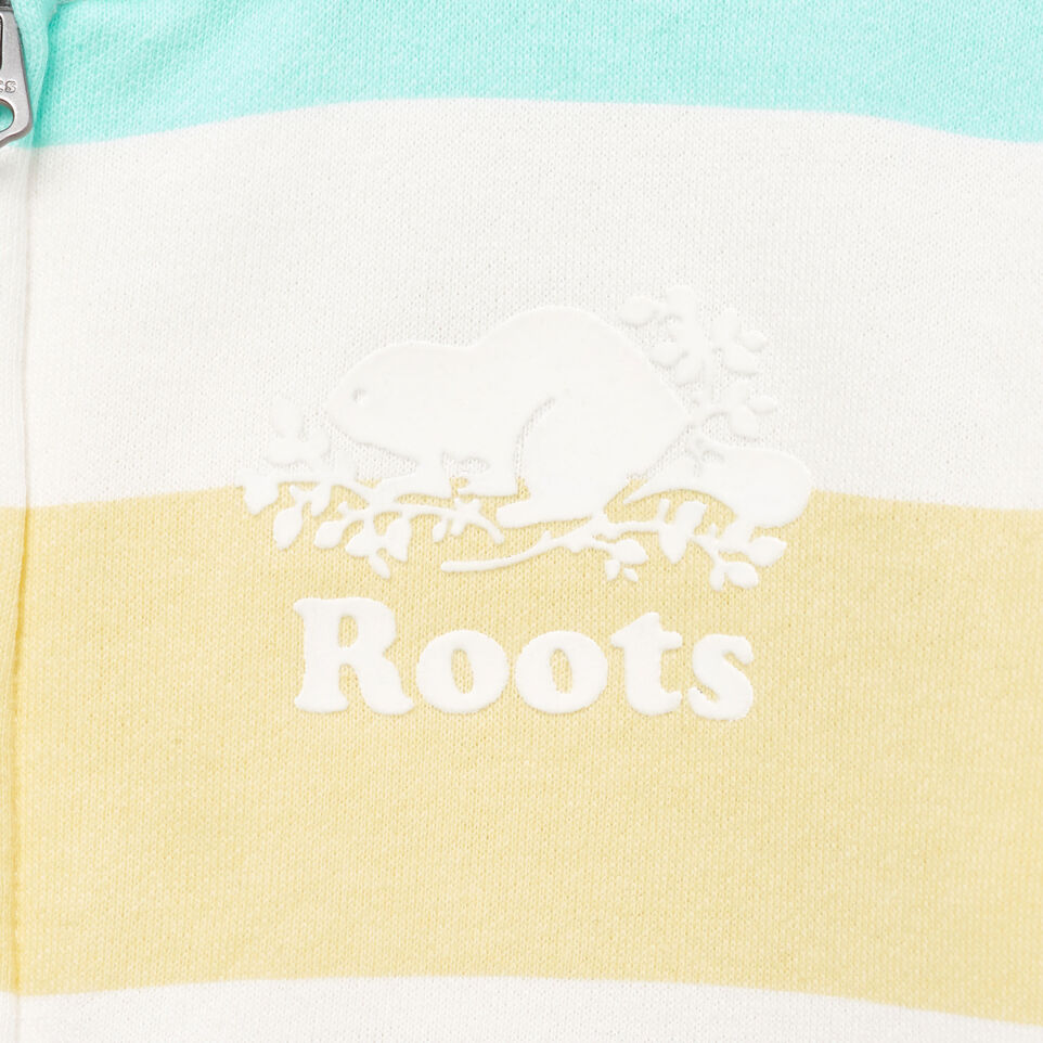 Roots-Clearance Kids-Girls Ombre Stripe Full Zip Hoody-Ivory-D