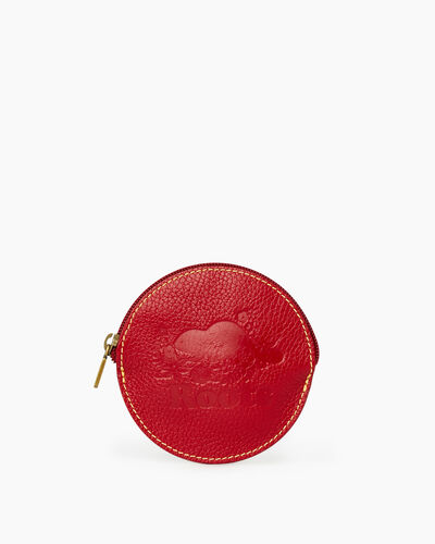 Roots-Men Leather Accessories-Floral Coin Pouch Prince-Red-A