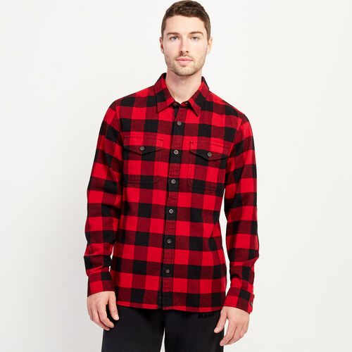 Roots-Men New Arrivals-Park Plaid Shirt-Cabin Red-A
