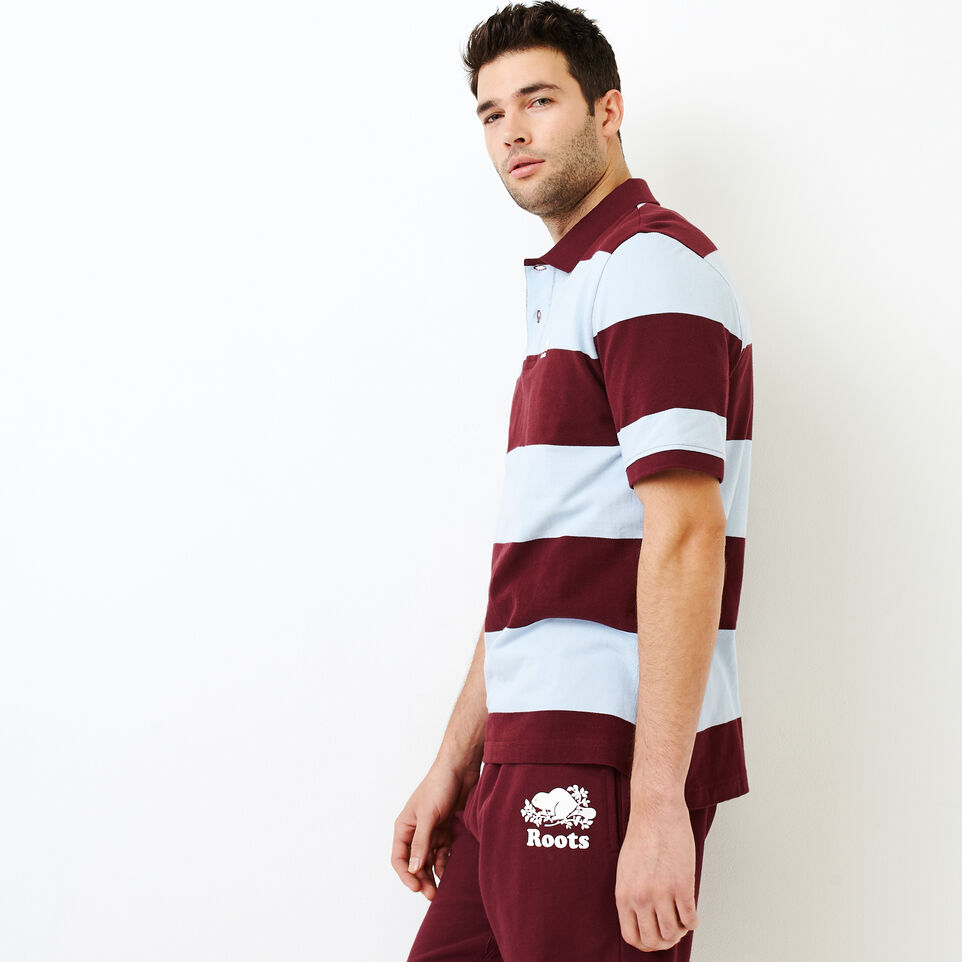 Roots-Men Categories-Heritage Striped Pique Polo-Northern Red-C