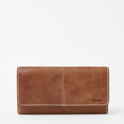 Roots-Leather Women's Wallets-Large Chequebook Clutch-Natural-A