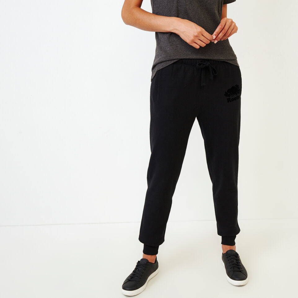 Roots-Women Categories-Original Slim Cuff Sweatpant-Black-A