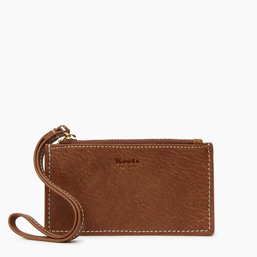 Roots-Women Leather Accessories-Medium Card Wristlet-Natural-A