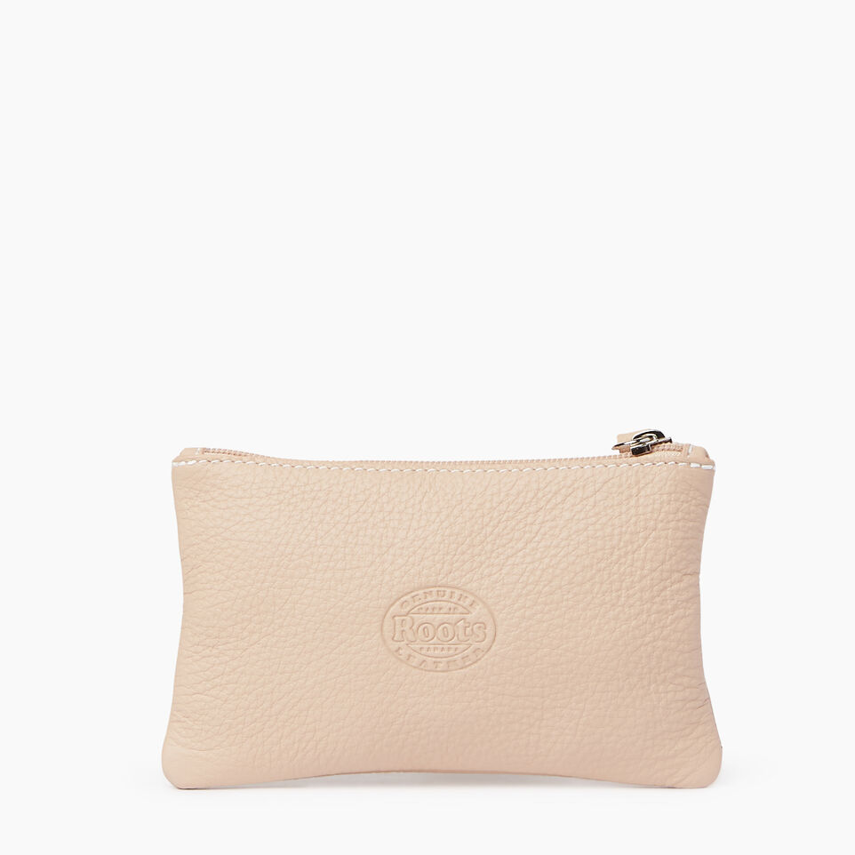 Roots-Women Leather Accessories-Medium Zip Pouch Prince-Pink Mist-C