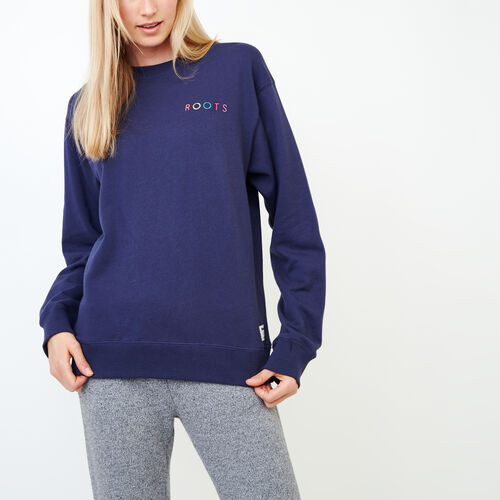 Roots-Women Sweats-Spectrum Crew Sweatshirt-Eclipse-A