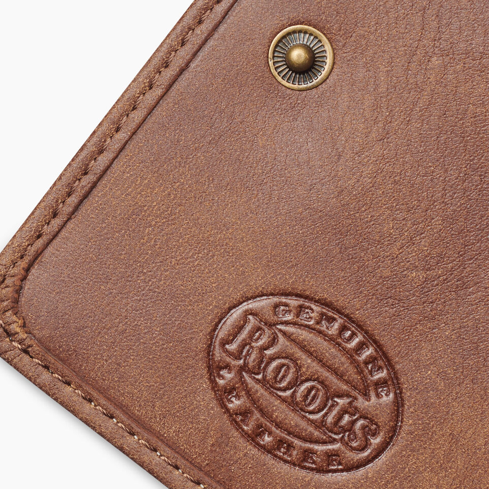 Roots-Leather Tribe Leather-Small Zip Wallet Tribe-Natural-F