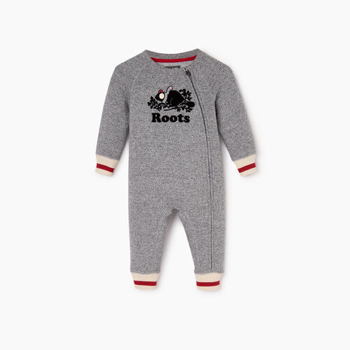 Roots-Kids Baby Girl-Baby Buddy Cozy Fleece Romper-Salt & Pepper-A