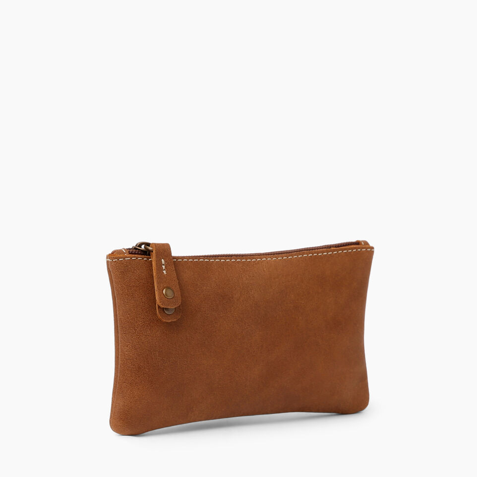 Roots-Women Leather Accessories-Medium Zip Pouch-Natural-D