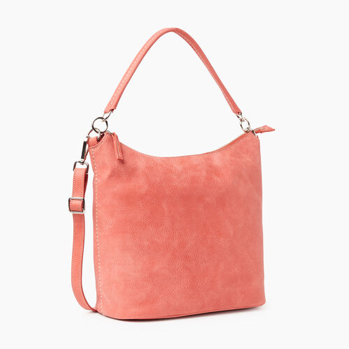 Roots-Leather Shoulder Bags-Ella Bag-Coral-A