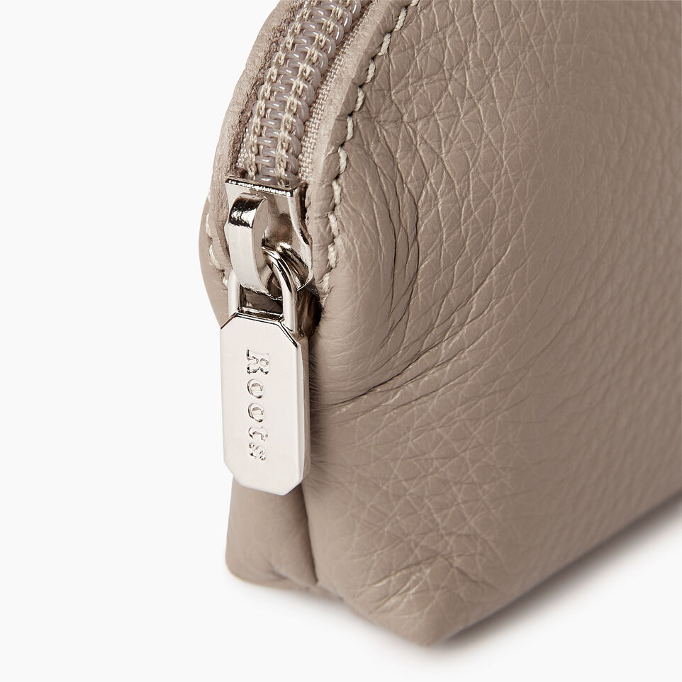 Roots-Leather Categories-Small Euro Pouch-Flint Grey-D