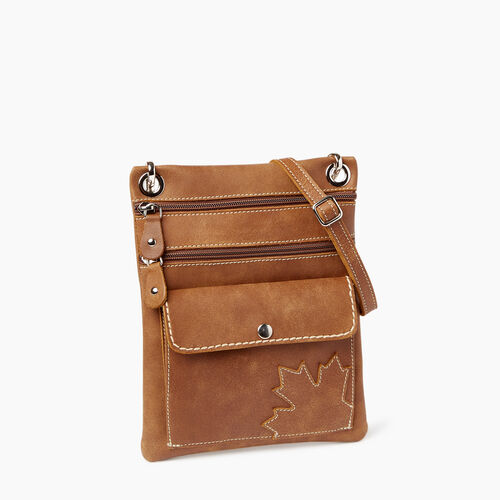 Roots-Leather  Handcrafted By Us Handbags-Trans Canada Urban Pouch-Natural-A