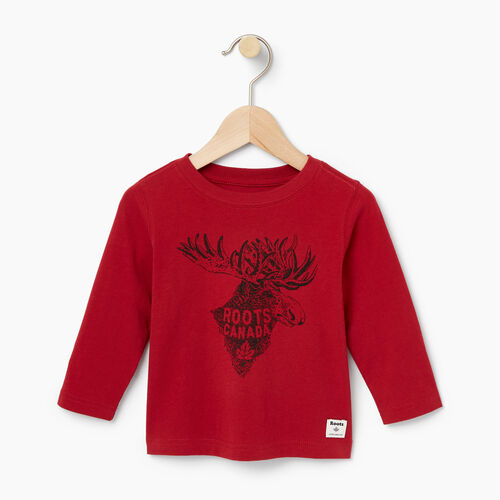 Roots-Kids T-shirts-Baby Wilderness T-shirt-Cabin Red-A