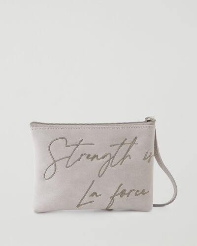 Roots-New For This Month International Women's Day-IWD Strength Pouch Tribe-Sterling Grey-A