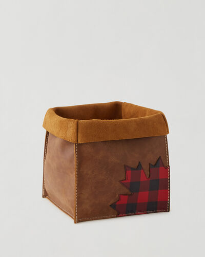 Roots-Leather Leather Accessories-Park Plaid Canada Large Basket-Natural-A