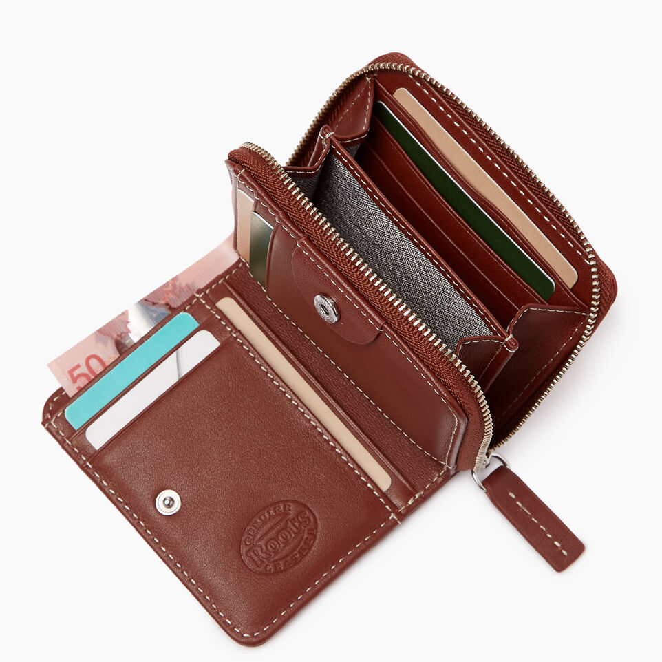 Roots-Leather Categories-Small Zip Wallet-Canyon Rose/oak-B