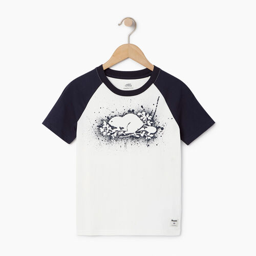 Roots-Clearance Kids-Boys Splatter Raglan T-shirt-Ivory-A