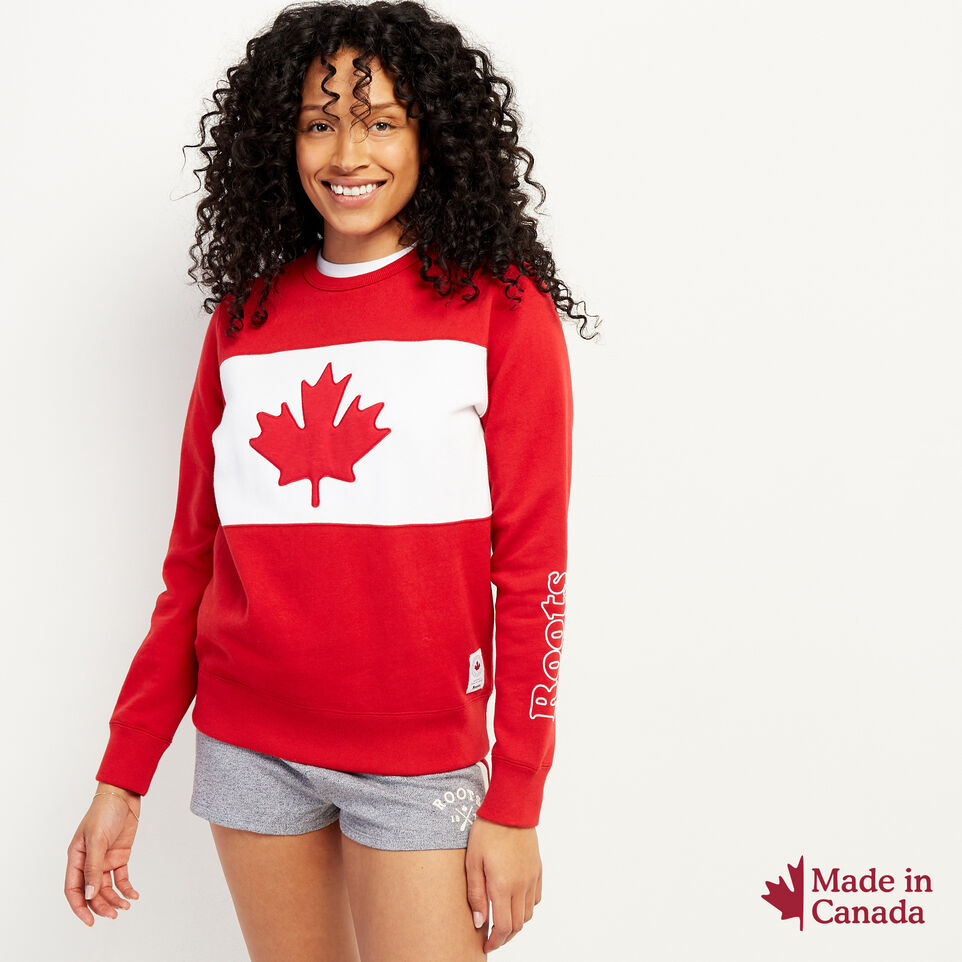 Roots-New For July Women-Blazon Crew Sweatshirt-Sage Red-A