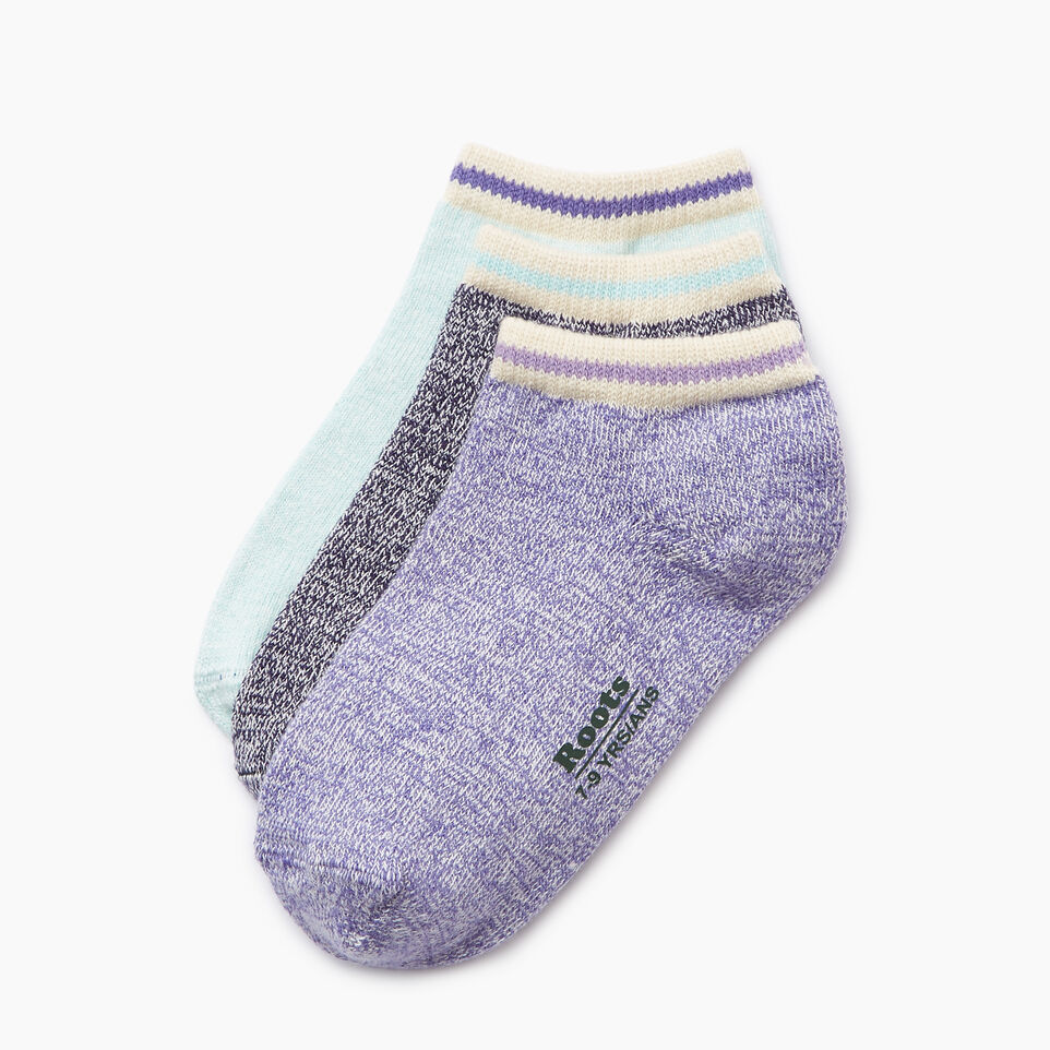 Roots-Clearance Kids-Kids Cabin Ped Sock 3 Pack-Violet Storm-B