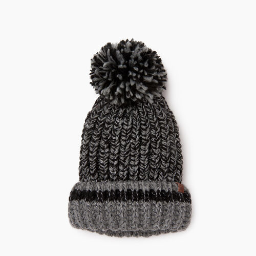 Roots-Women Categories-Chunky Cabin Pom Pom Toque-Black Mix-A