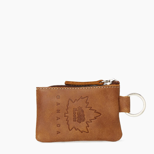 Roots-Men Leather Accessories-Heritage Canada Top Zip Pouch-Natural-A