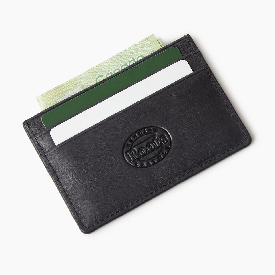 Roots-Leather  Handcrafted By Us Our Favourite New Arrivals-Card Holder Tribe-Jet Black-C