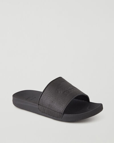 Roots-Footwear Sandals-Womens Long Point Leather Slide-Black-A