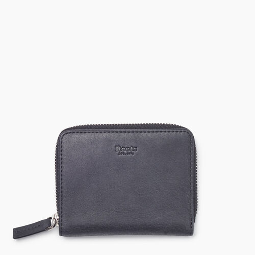 Roots-Leather New Arrivals-Small Zip Wallet Tribe-Jet Black-A