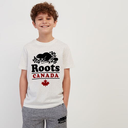 Roots-Kids New Arrivals-Boys Roots Canada T-shirt-Ivory Mix-A
