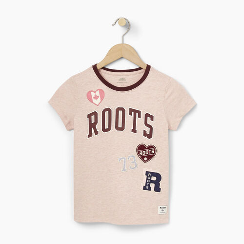 Roots-Winter Sale Kids-Girls Roots Patches T-shirt-Silver Pink Mix-A