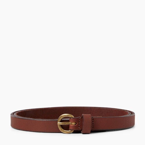 Roots-Leather  Handcrafted By Us Leather Accessories-Roots Womens Skinny Belt-Tan-A