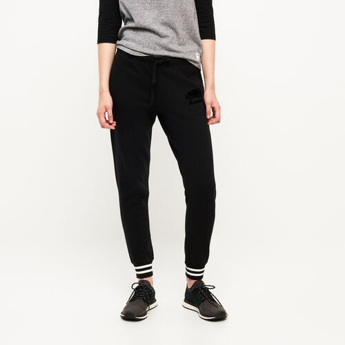 Roots-Women Bottoms-Varsity Slim Cuff Sweatpant-Black-A