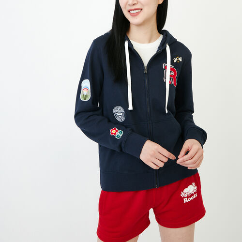 Roots-Women Tops-Patches Full Zip Hoody-Navy Blazer-A
