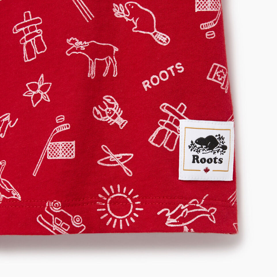 Roots-Kids Our Favourite New Arrivals-Girls Canada Aop T-shirt-Sage Red-C