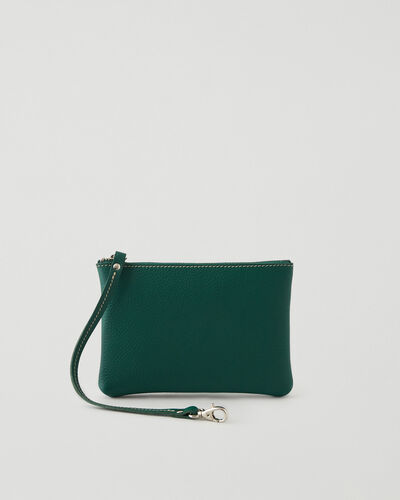 Roots-Leather Leather Accessories-Wristlet Pouch Parisian-Emeraude-A