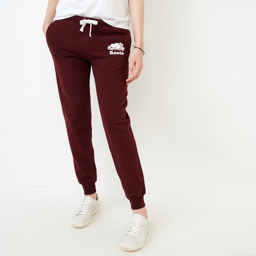 Roots-Women Sweatpants-Original Slim Cuff Sweatpant-Crimson-A