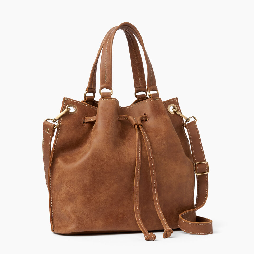 Roots-Leather Shoulder Bags-Hailee Drawstring Bag Tribe-Natural-A