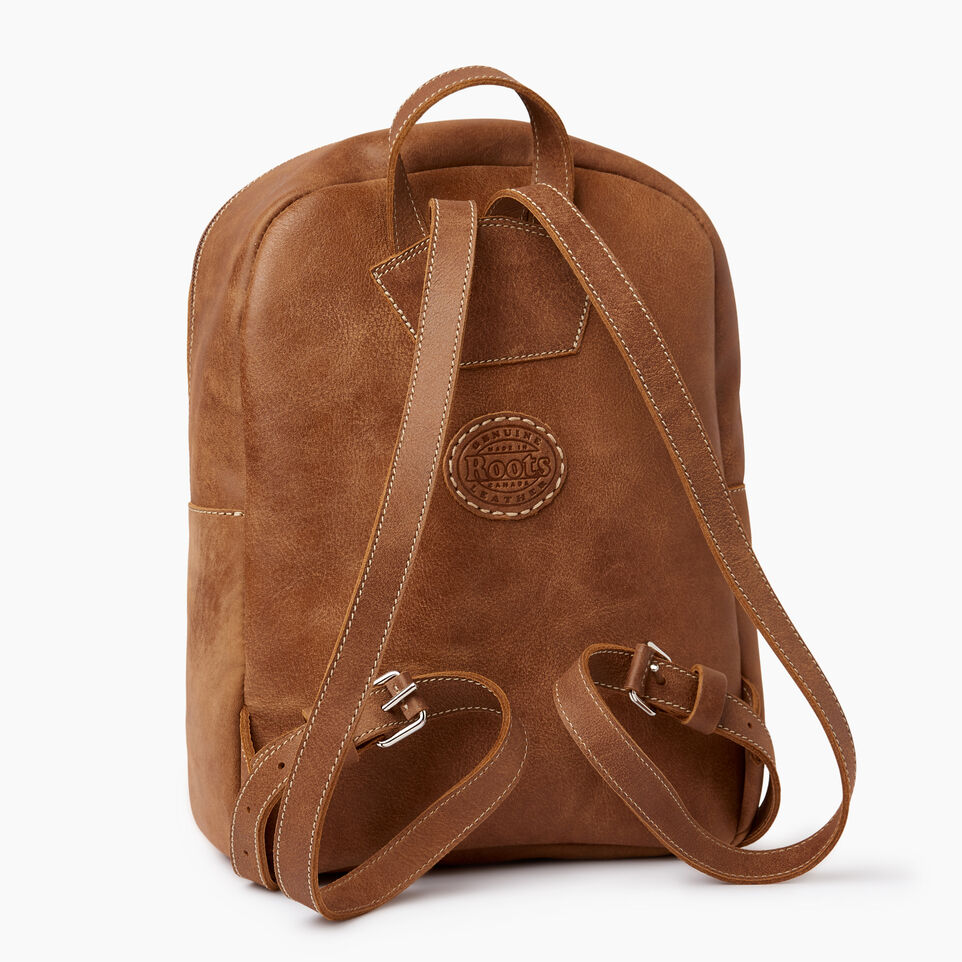 Roots-Leather Backpacks-Trans Canada Backpack-Natural-C