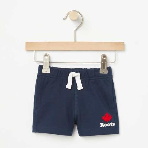 Roots-Kids Bottoms-Baby Maple Jersey Shorts-Cascade Blue-A
