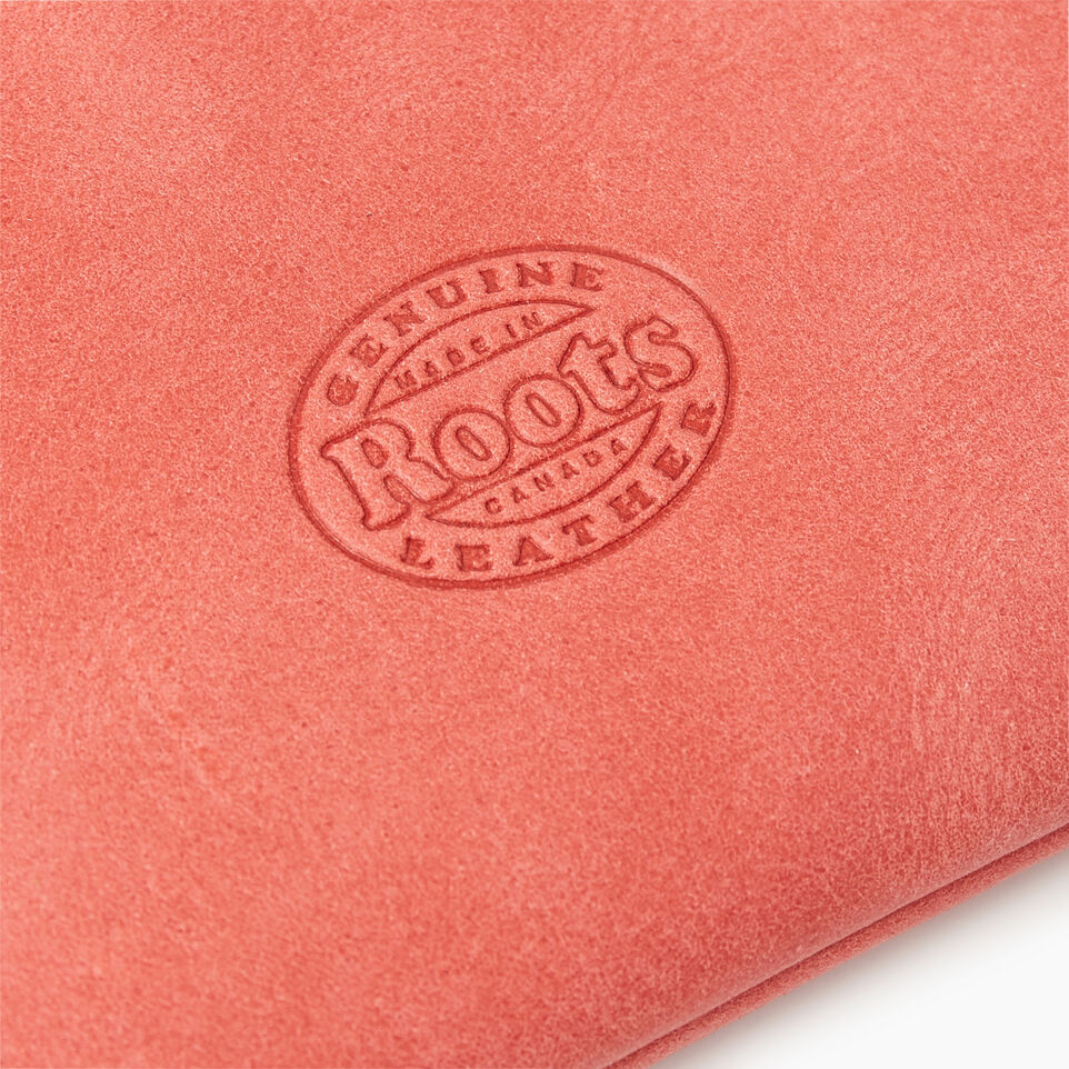 Roots-Leather New Arrivals-Medium Zip Pouch-Coral-D