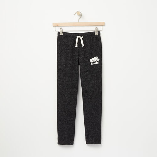 Roots-Kids Bottoms-Girls Slim Roots Sweatpant-Black Pepper-A
