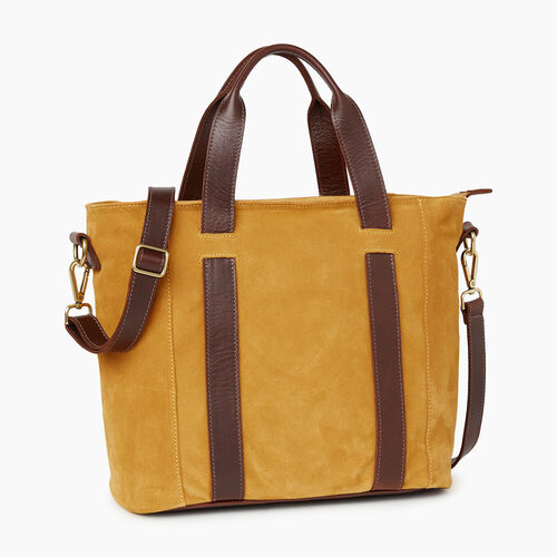 Roots-Leather Totes-Victoria Tote Suede-Squash Yellow-A