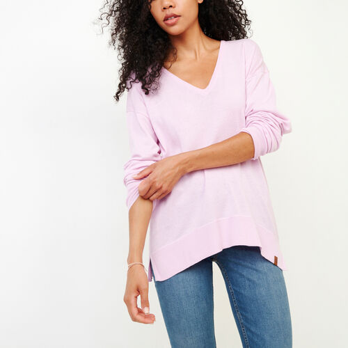 Roots-Women Categories-Fauna V Neck Sweater-Orchid Bouquet-A