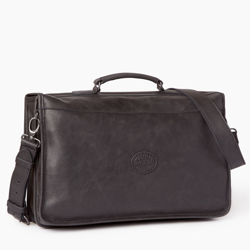 Roots-Leather  Handcrafted By Us Our Favourite New Arrivals-The Original Briefcase-Jet Black-C