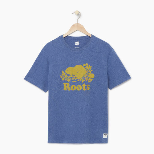 Roots-Men Our Favourite New Arrivals-Mens Cooper T-shirt-Blue Bonnet Pepper-A