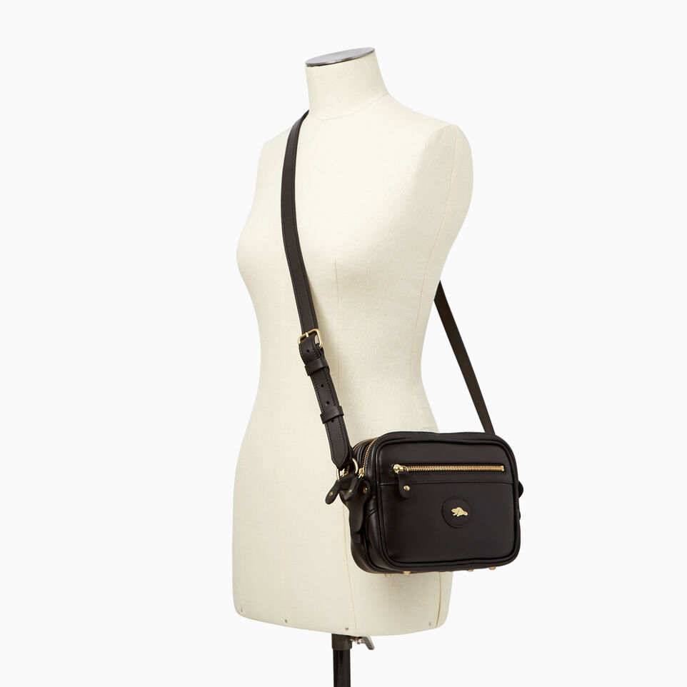 Roots-Leather  Handcrafted By Us Handbags-Classic Camera Bag-Black-B