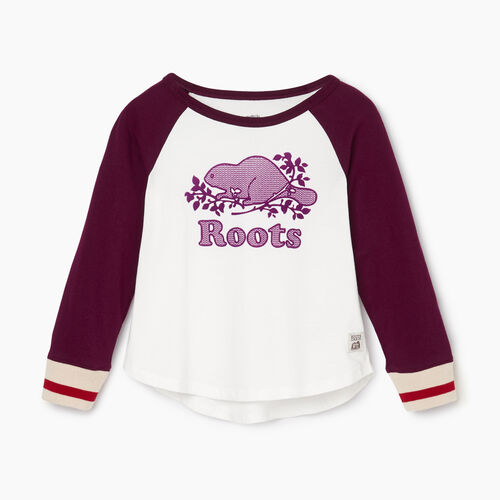 Roots-Kids Tops-Toddler Cabin Baseball T-shirt-Pickled Beet-A